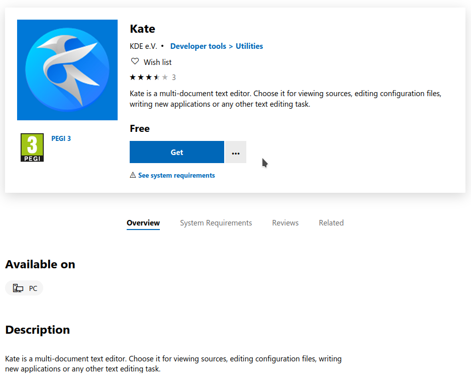 Kate on the Microsoft Store