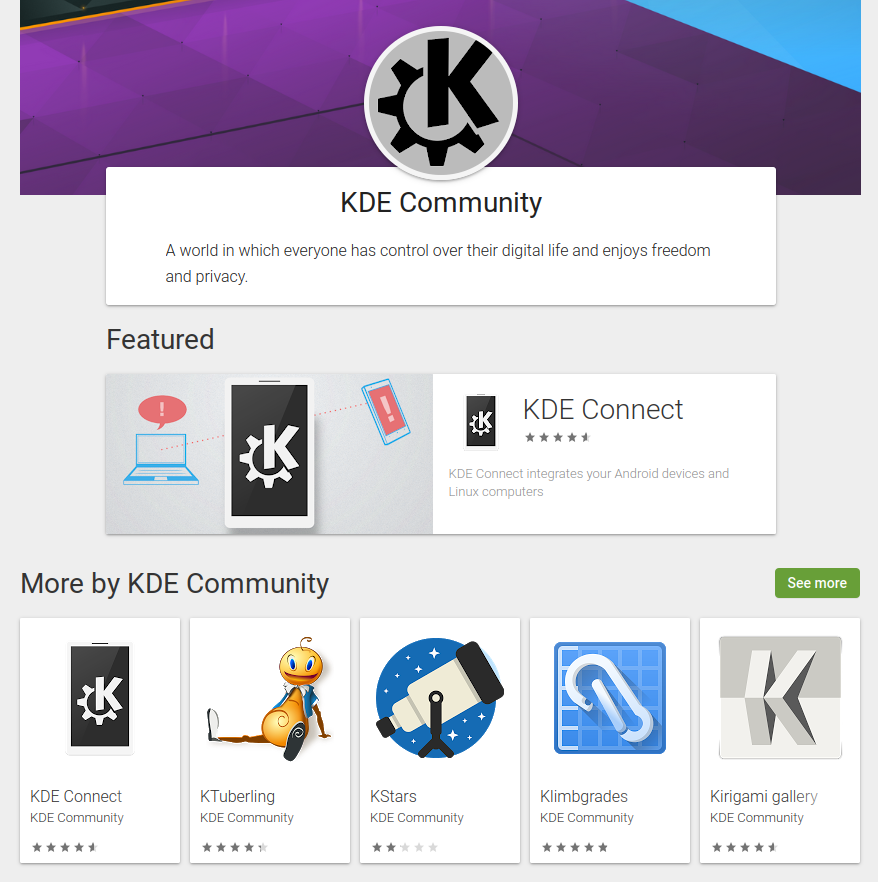 KDE on the Google Play Store